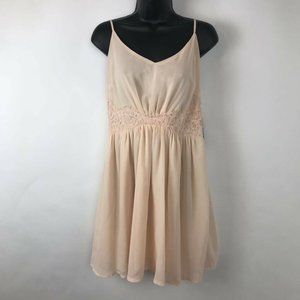 Missguided A Line Dress Pink Lace Adjustable Sz 12